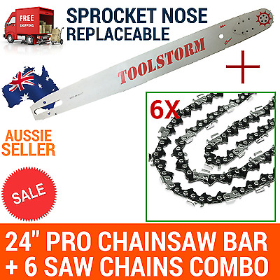 """24""""/25"""" Pro Chainsaw Bar And 6 Saw Chains Combo 3/8 063 84Dl For Stihl Chainsaw"""