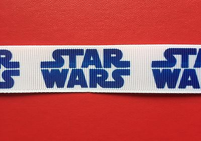 STAR WARS Blue On White Grosgrain RIBBON 1Mtr X 22mm For Craft Hair Gifts Cakes