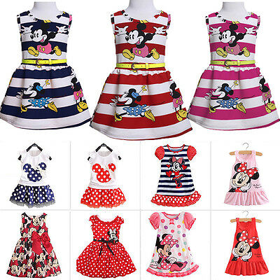 Toddler Baby Girls Minnie Mouse Dress Kids Cartoon Summer Tops Skirt Party Dress