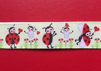 Cute• LADYBUGS Ladybirds Grosgrain RIBBON 1Mtr X 22mm For Craft Hair Gifts Cakes