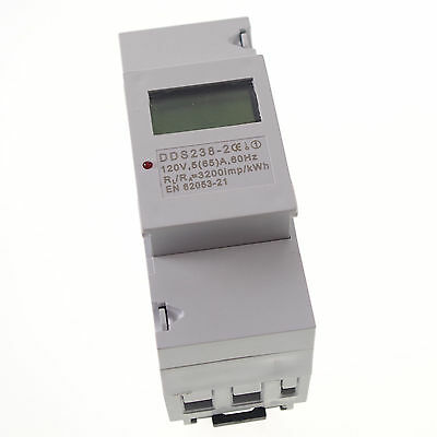 5- 65A 110V 60Hz Single Phase DIN-rail Kilowatt LED Hour kwh Meter CE Proved