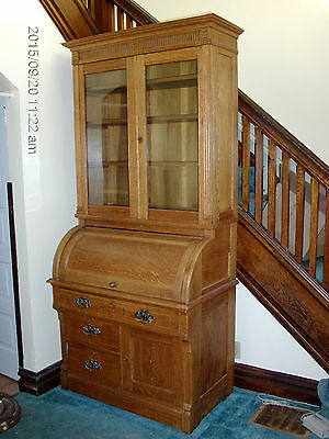 Cylinder Roll Secretary Desk  Bookcase Top with Key - Local Pickup Only!