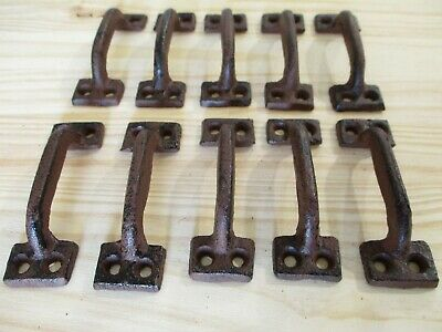 "10 Cast Iron Handles Rustic Drawer Pulls Small 3 1/2"" Long Home Decor Kitchen"