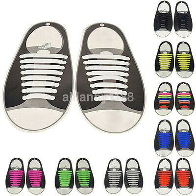 16PCS No Tie Shoelaces Elastic Silicon Shoe Laces For Walking Running Sneakers