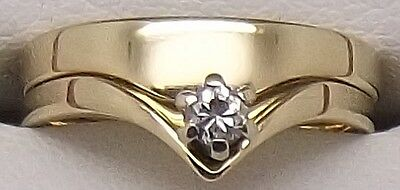 Solid 18Ct Yellow Gold Solitaire Diamond Engagement & Wedding Ring Set