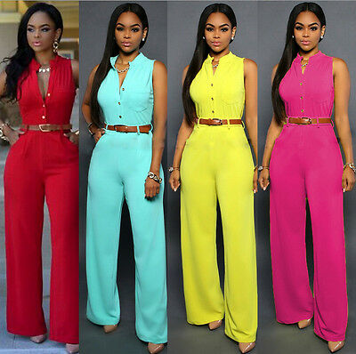 UK Womens Bodycon Clubwear Trousers Playsuit Sleeveless Party Jumpsuit&Romper