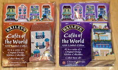 lot (2) 1998 Baileys Cafes Of The World Collectible Ceramic Figures #3, #4 - New