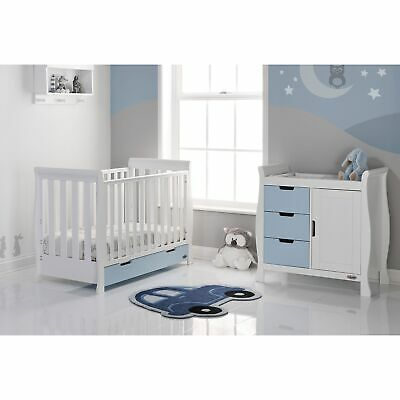 Obaby Baby Bedroom Stamford Mini 2 Piece Room Set - White With Bonbon Blue