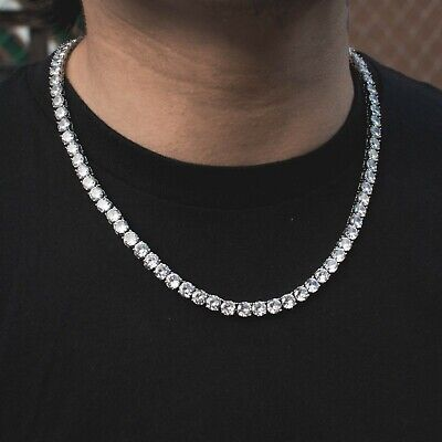 18k White Gold Lab Diamond Tennis Chain Iced Out 1 Row Necklace Choker