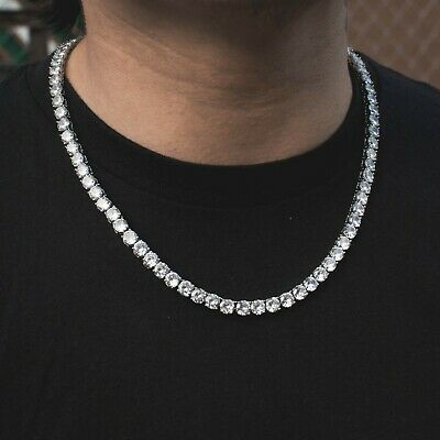 gold tennis necklace chain mens ladies cz 18kt 36 inch bezel chunky new O364