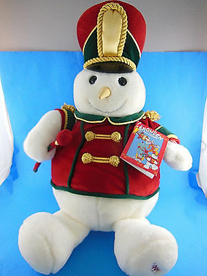 """1999 PLUSH 22"""" MARCHING BAND SNOWDEN SNOWMAN, ANIMATED, MUSICAL Mint W Tag"""