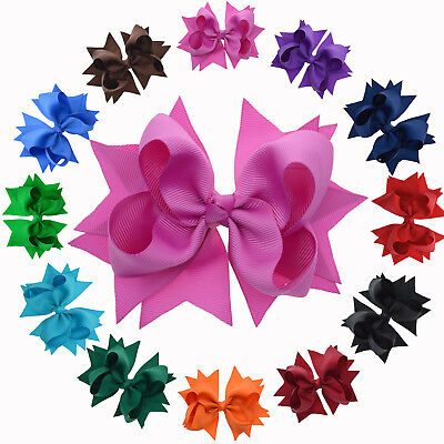 """4.5"""" Solid Color Stacked Hair Bows with Clip for Girls Toddlers Kids women"""