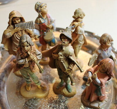 "Fontanini nativity 5"" scale: collection of 7 musicians, 1987-1998, some w/cards"