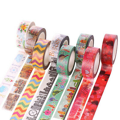 10m Self DIY Cartoon Washi Sticker Decor Paper Masking  Adhesive Tape Crafts #JP