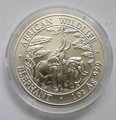 2003 ZAMBIA ELEPHANT,1 OZ BU SILVER W/ 39 mm CAPSULE,VERY RARE, MINT CONDITION