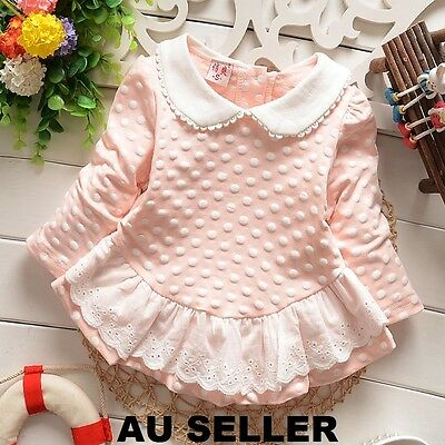 Baby Girls Pink Polka Dot Long Sleeve Lace Top Autumn 12 months - 18 months