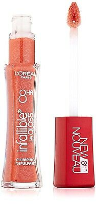 L'Oreal Paris Infallible 8HR Plumping Lip Gloss 406 Coral 0.21 Ounces Loreal