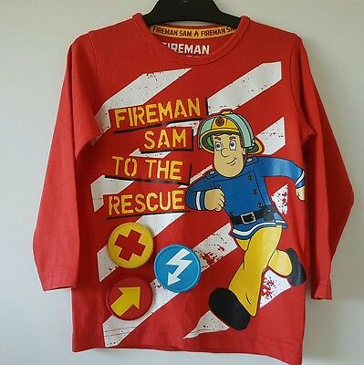 BNWOT Size 2 - 3 Fireman Sam M&S Marks & Spencer Boys Long Sleeve Red Tshirt Top