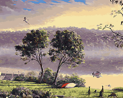 Acrylic Paint By Numbers Kit Canvas Kangaroo Valley 50*40cm S5 A003 AU STOCK