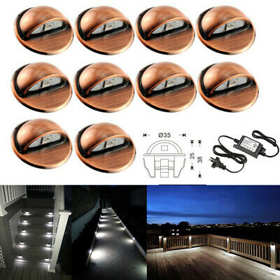 10Pcs Cold White 12V 35mm 0.4W Half Moon Outdoor Yard LED Deck Step Stair Lights