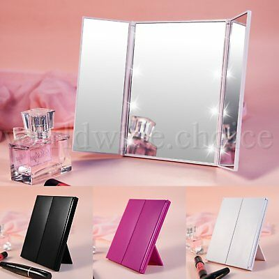 8 LED Light Makeup Mirrors Luxebell Protable Tri-fold Tabletop Cosmetic Mirror