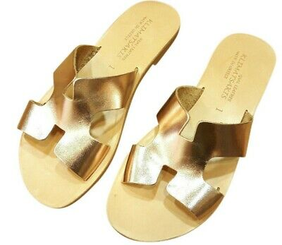 Ancient Greek Womens Leather Sandals Herme Roman Gladiator Shoes Slide Flat New