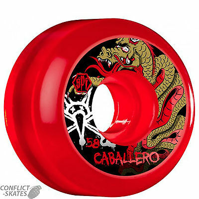 "BONES ""Clears"" Caballero Dragon Skateboard Wheels 58mm SPF Pool Park Clear RED"