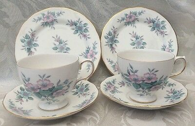 Vintage Colclough COPPELIA Pretty Cup Saucer Tea Plate Trio X 2 Fine Bone China