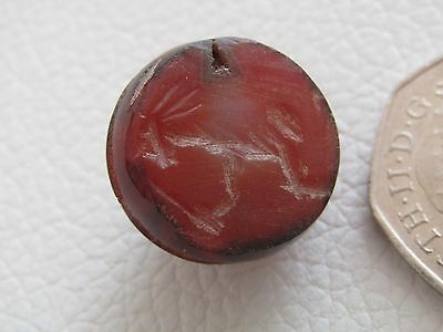 Antique STYLE Hardstone Seal Bead with Impression - Wearable