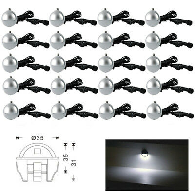 20Pcs Cool White Low Voltage Half Moon Outdoor Yard LED Deck Step Stair Lighting