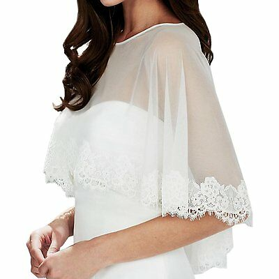 AbaoWedding Embroidered Lace Tulle Shrug Shawl Wrap Bolero Wedding Jacket for L