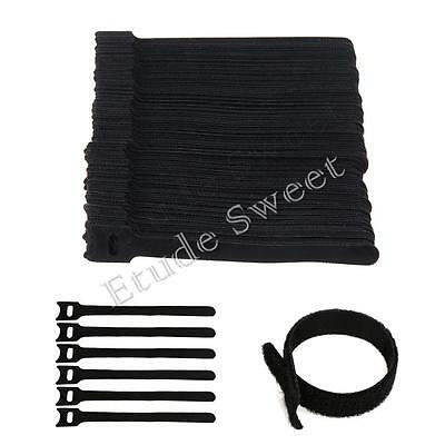 100Pcs Reusable Nylon Straps Hook and Loop Cable Cord Ties Tidy Organiser Black