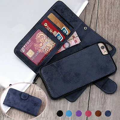 Retro Magnetic Leather REMOVABLE Detachable 2in1 Wallet Flip Phone Case Cover