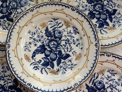 Five Booths Silicon Vintage China Blue And Gold Salad Plates