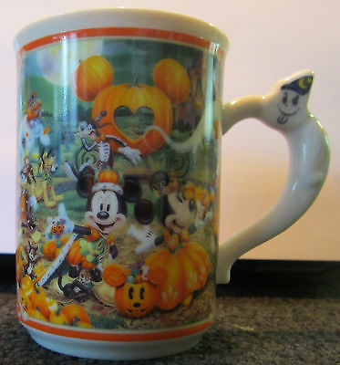 Rare 2005 Disneyland Tokyo Halloween Pumpkin Kingdom Ceramic Coffee Mug Ghost