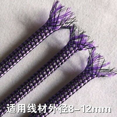 8MM Purple&Black Expandable Braided Sleeving Cable Sleeve Wrap Cover x 2M