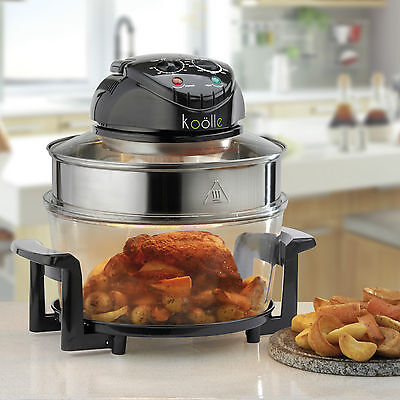 Koölle Black 17L Halogen Oven with Accessories Powerful 1400W & Self Clean Mode