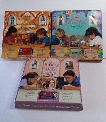 3 SOUND AND STORY THEATER DISNEY Tapes & Pop-Up books MERMAID ALLADDIN BEAUTY