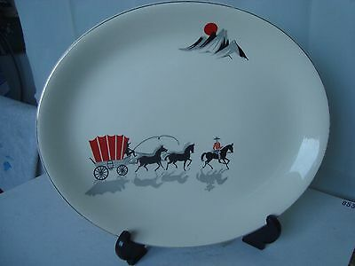 VINTAGE 1950s ALFRED MEAKIN OVAL PLATTER COVERED WAGON COWBOY RETRO KITSCH