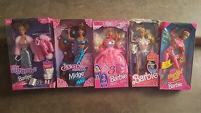 Lot of 5 collectible barbie jewel hair mermaid midge 3 looks my wardrobe & more