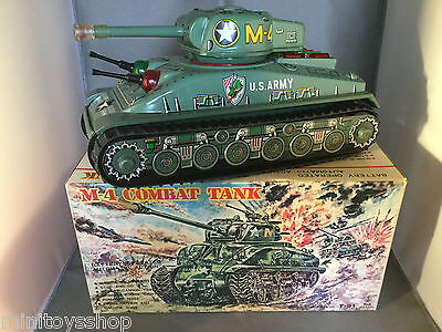 Taiyo M-4 Combat Tank T-91 US Army Mark Litho War Tank  - Tin Toy Boxed