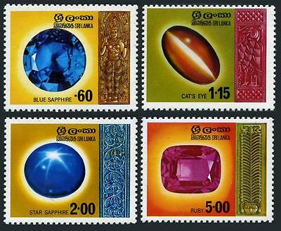 Sri Lanka 507-510,MNH.Michel 456-459. Gems 1976..Blue Sapphire,Cat's-eye,Ruby,