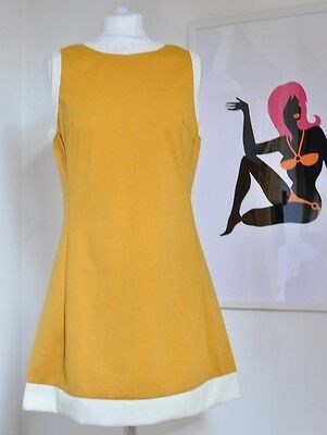 "Mod Scooter 1960s Vintage style ""Dusty"" Dress by Pop Boutique, mustard yellow"