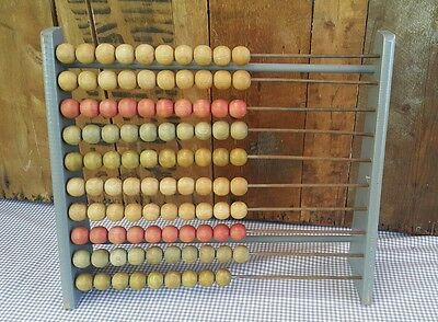 VINTAGE WOODEN ABACUS - toy - 10 rows of beads