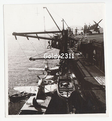Rn Faa Ww2 Seafires Being Lifted Onto A Carrier Original Photograph
