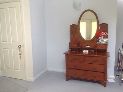 Antique dressing table & bed ends