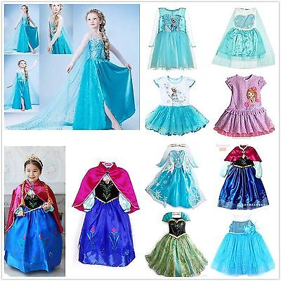 Grils Princess Queen Elsa Anna Cosplay Costume Party Fancy Dress 2-9Y dresses