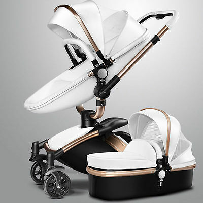 Baby Stroller 2 in 1 Faux Leather Carriage Infant Travel Foldable Pram Pushchair