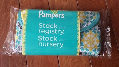 Pampers gift wristlet baby MINI wipes travel case bag green yellow floral strap