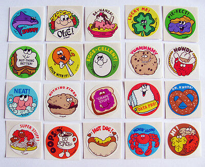 Lot of Vintage 80's Trend Glossy Scratch & Sniff Stickers Shark Clover Pie Taco